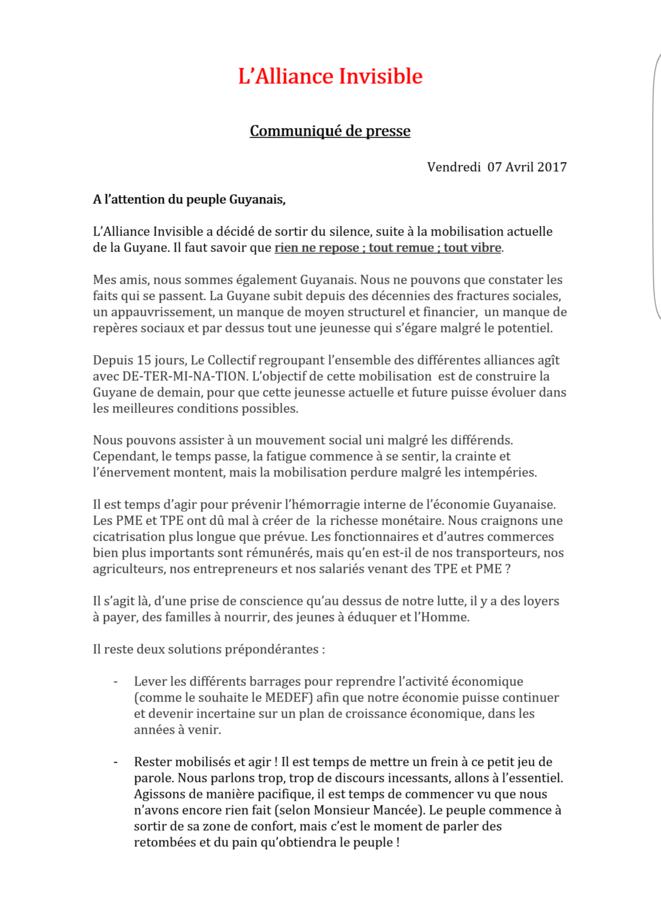 Le communiqué de L'Alliance Invisible 1/2.