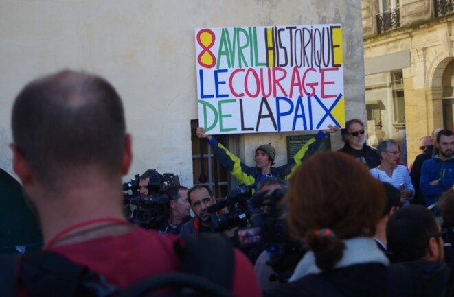 L'activiste Voltuan dans les rues de Bayonne, le 8 avril 2017, jour du désarmement de l'ETA © K.L