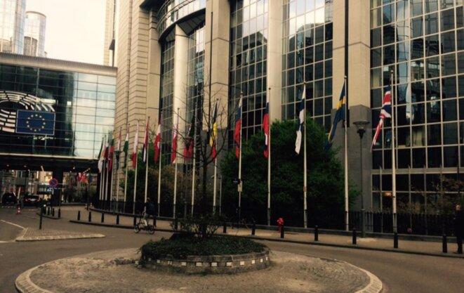 Drapeaux des 28, devant le Parlement européen © Schams El Ghoneimi