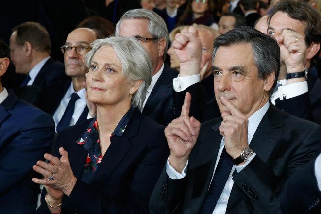 Penelope et François Fillon au meeting de La Villette, le 29 janvier © Reuters