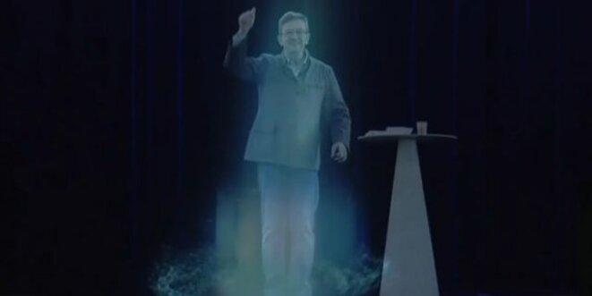 L'hologramme de Jean-Luc Mélenchon.