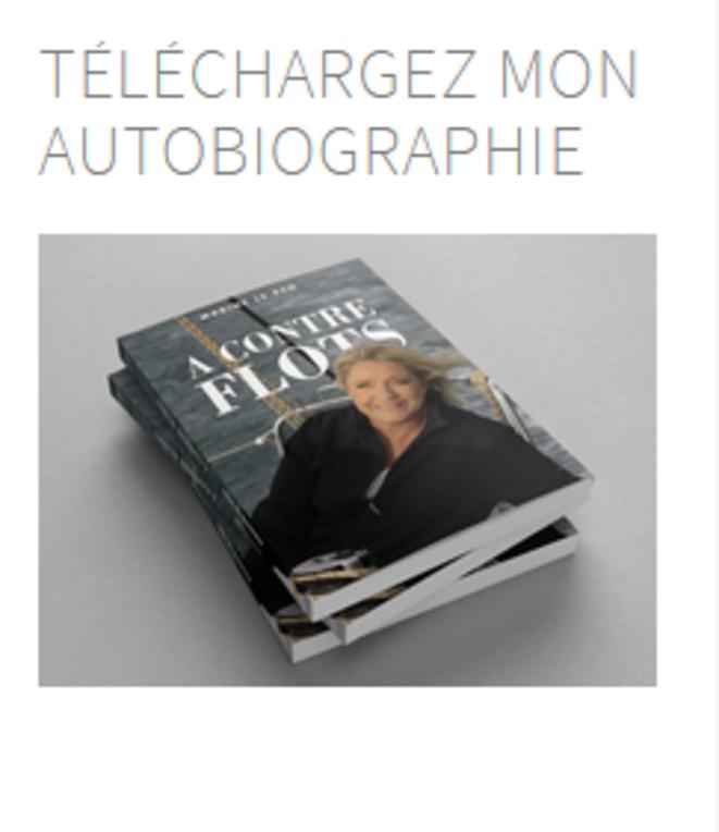 Lien sur le site vers la bio de Marine Le Pen © Le Site de Marine Le Pen