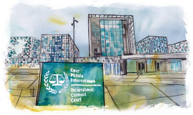 Le siège de la Cour pénale internationale, à La Haye © Illustration Damien Roudeau