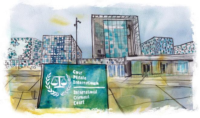 La sede de la CPI, en La Haya. © Illustration Damien Roudeau