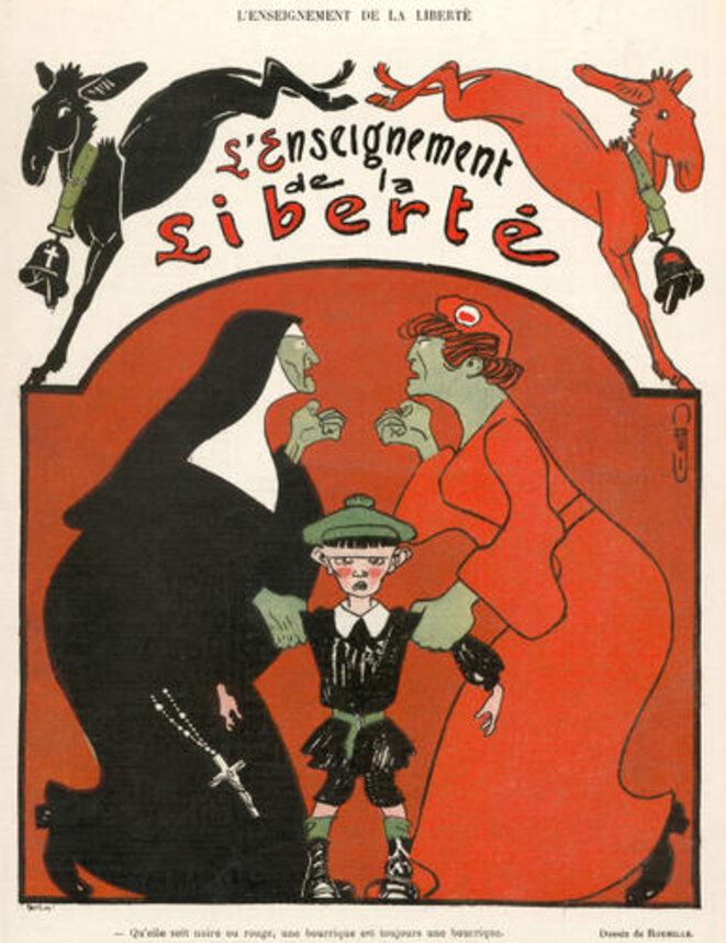 """Dessin de Roubille intitulé """"L'enseignement de la liberté"""" paru dans Le Rire, no. 60, 26 mars 1904. © Source: http://www.caricaturesetcaricature.com/article-5223814.html"""