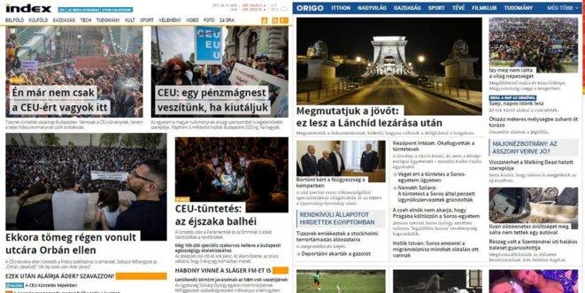 Les deux principaux portails d'actualités : à gauche, Index.hu rapporte abondamment la manifestation, tandis qu'elle est invisible sur le site Origo.hu, récemment tombé dans l'escarcelle du pouvoir. © Capture d'écran