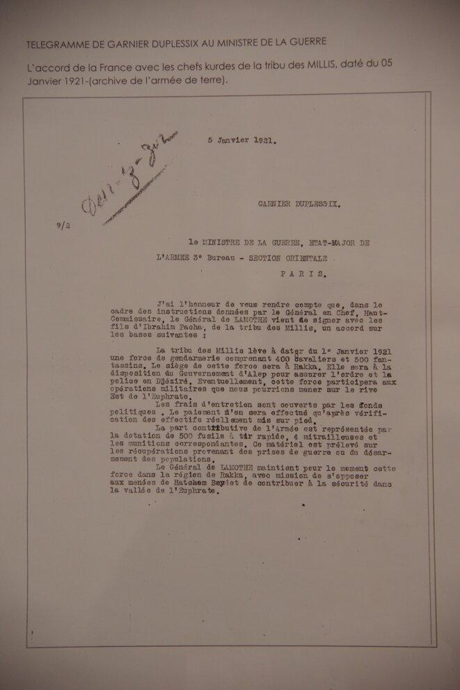 Le document historique signé entre les autorités françaises à Raqqa et la tribu kurde des Millis en 1921