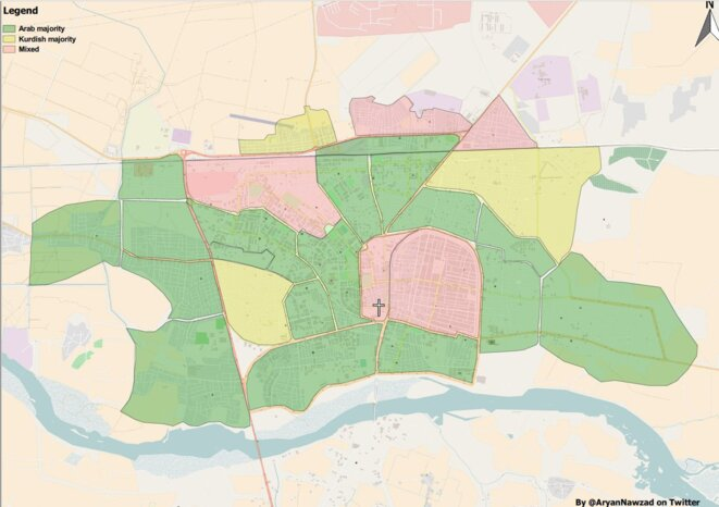 répartition ethnique dans la ville de Raqqa d'après @Aryannawzad, jaune:à majorité kurde, rouge: quartier mixte, vert: quartier à majorité arabe