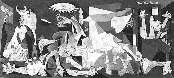 """""""Guernica"""", 1937, 3,5m x 7,8m. Tableau de Pablo Picasso peint sur commande du gouvernement républicain espagnol pour l'Exposition universelle de Paris en 1937, en réponse au bombardement de Guernica par l'aviation fasciste allemande et italienne (légion Condor)."""
