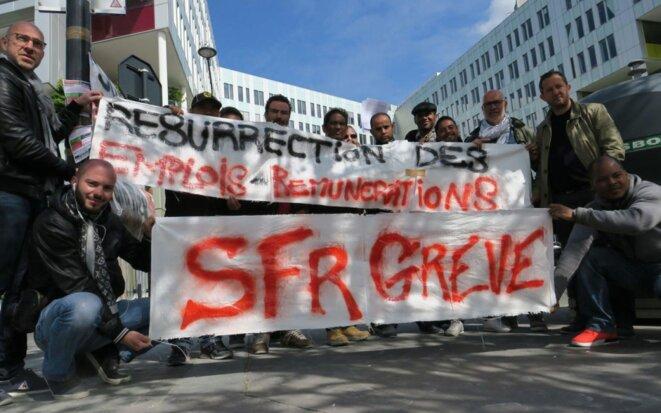 Saint-Denis, vendredi 14 avril 2017. Grève des salariés d'un service de supervision du groupe SFR, qui refusent de perdre en rémunération. LP/G.B. © G.B.