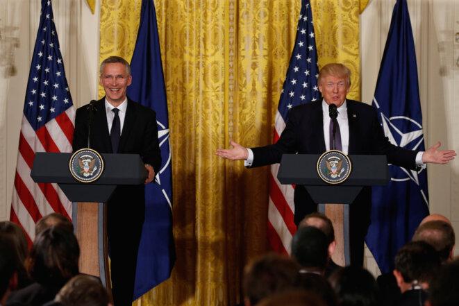 Jens Stoltenberg, secrétaire général de l'OTAN, et Donald Trump, mercredi 12 avril, à la Maison Blanche © Reuters