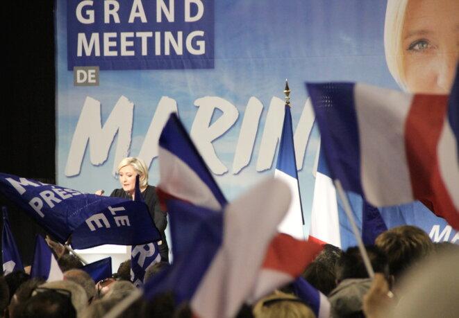 Marine Le Pen en meeting à Perpignan, samedi 15 avril 2017. © Pseudonyme