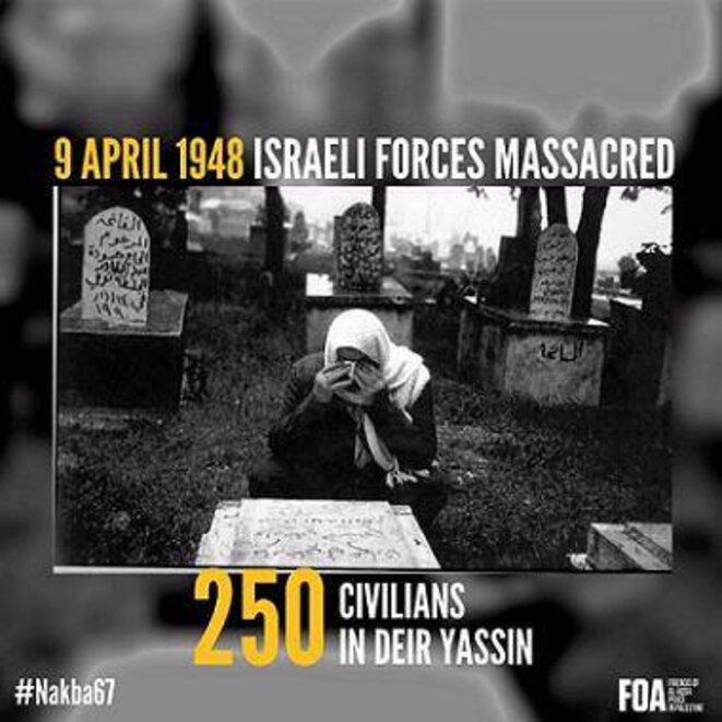 Visuel reprenant le nombre de victimes avancé par les Palestiniens et utilisé par les sionistes pour répandre la peur.