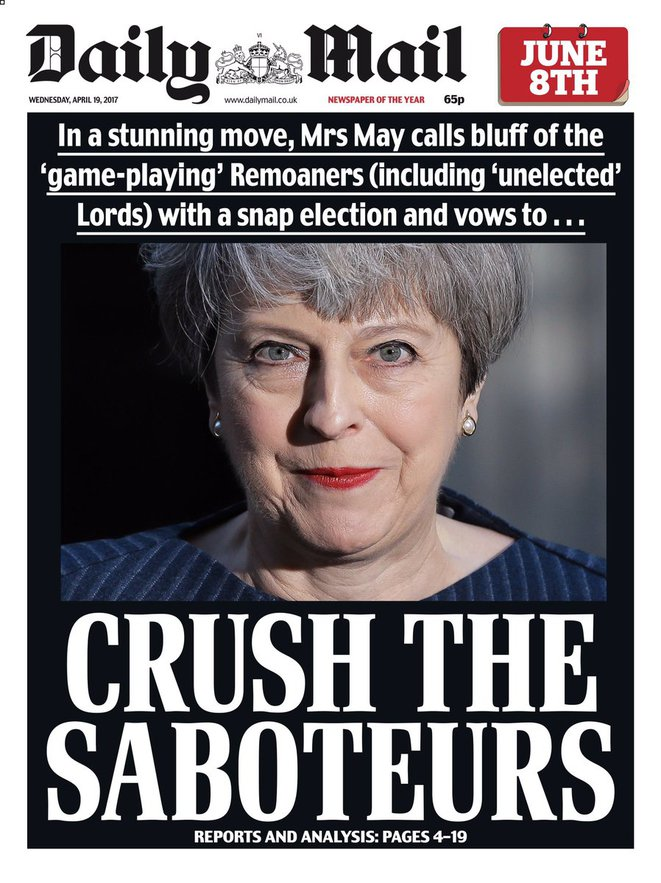La une du « Daily Mail » du 19 avril 2017 © Daily Mail