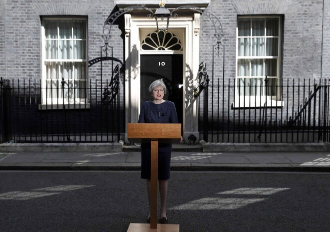 Theresa May annonce la tenue d'élections anticipées, mardi 18 avril 2017. © REUTERS