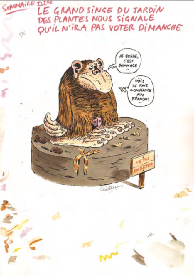 Dessin de Philippe Vuillemin (né en 1958). Le primate : « Je bosse, c'est dommage... Mais je fais confiance aux Français. »