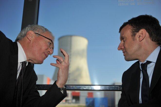 Emmanuel Macron et le PDG d'EDF Jean-Bernard Lévy