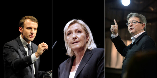 Respectivement Macron, Le Pen et Mélenchon