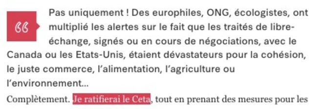 Extrait d'une interview récente d'Emmanuel Macron à Libération