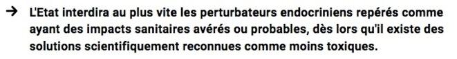 Extrait du programme d'Emmanuel Macron sur les perturbateurs endocriniens