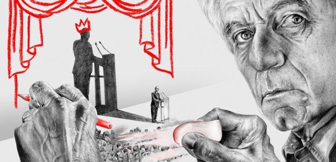 """copie d'écran - Jacques Rancière, vu par Anne-Gaëlle Amiot pour """"L'OBS"""".- (©Anne-Gaëlle Amiot pour L'OBS. Portrait d'après photo : Ulf Andersen/Aurimages/AFP"""