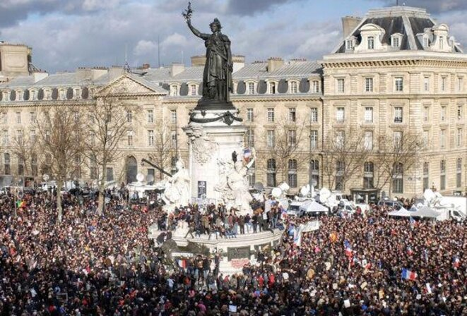 A rally at the Place de la République in central Paris.