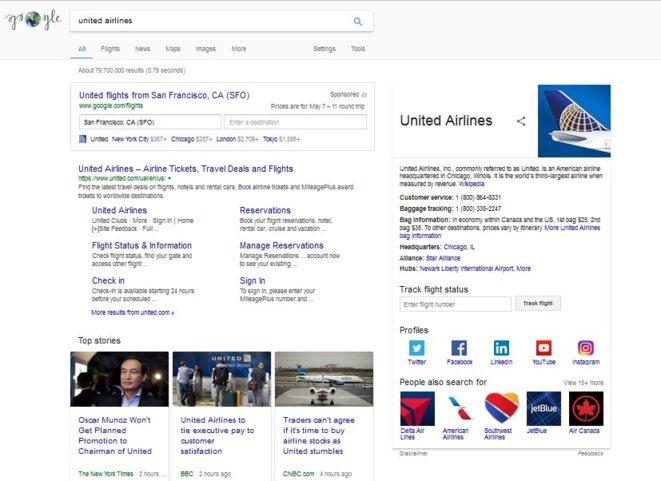 Recherche Google US pour United Airlines