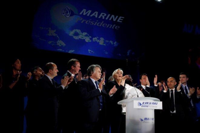 Marine Le Pen après son discours, dimanche soir, à Hénin-Beaumont. © Reuters