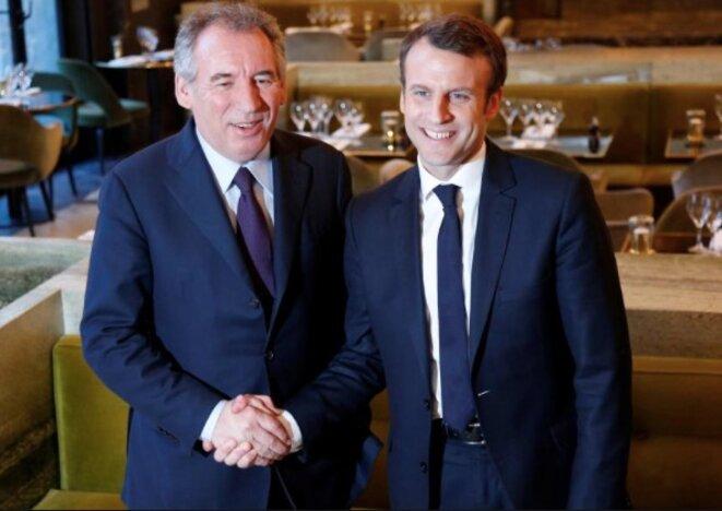 Veteran politician François Bayrou with Emmanuel Macron.