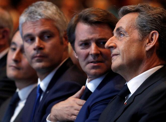 Laurent Wauquiez, François Baroin et Nicolas Sarkozy, le 9 octobre 2016. © Reuters