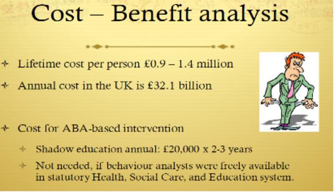 Diapo 83 : Analyse coût/bénéfices  - coût par personne pendant une vie : entre 0,9 et 1,4 millions de livres sterling - coût annuel au Royaume Uni : 32,1 milliards de livres sterling  - coût d'une intervention basée sur l'ABA - - Enseignement parallèle, par an : 20 000 livres sterling, pendant 2 à 3 ans   - Non pertinent, si les analystes du comportement étaient librement disponibles dans les systèmes légaux de santé, de protection sociale et de l'éducation