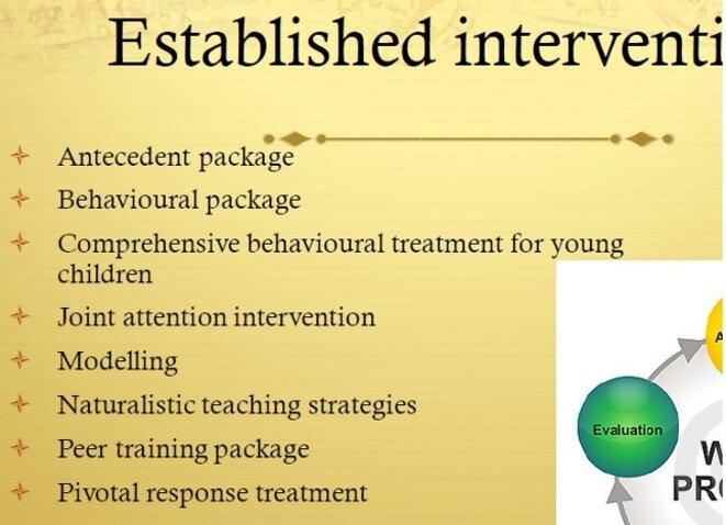 Diapo 81-  Interventions établies  - Ensemble d'antécédents - Ensemble de comportements - Traitement comportemental complet pour les jeunes enfants - Intervention à attention conjointe - Démonstration - Stratégies d'enseignement naturalistes - Ensemble d'enseignements des pairs - Traitement de la réponse pivot - Programmes - Autogestion - Ensemble d'interventions basées sur l'historique  (d'après, l'analyse du comportement appliquée, NAC, 2009)