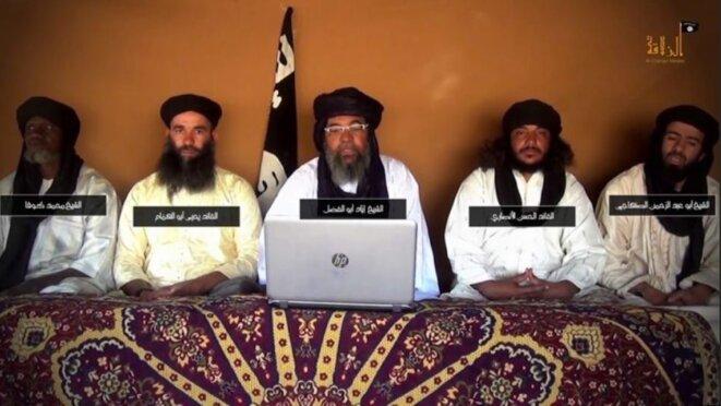 Capture d'écran de l'annonce de la fusion des mouvements djihadistes de la zone sahélienne. © DR