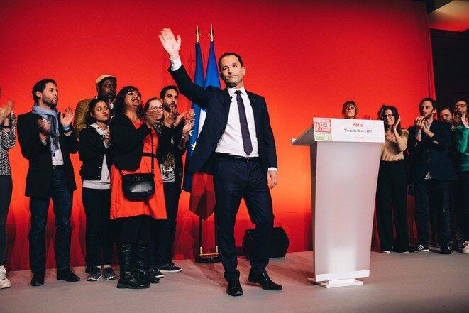 Benoît Hamon la noche de su derrota, el 23 de abril de 2017. © Nicolas Serve
