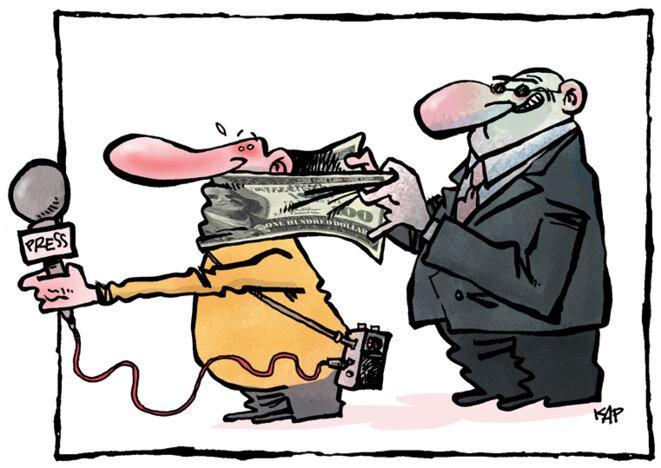 Illustration : un dessin de l'espagnol Kap, lauréat du 13e Concours de dessin pour la liberté de la presse organisé par le Canadian Committee for World Press Freedom en mars 2017.