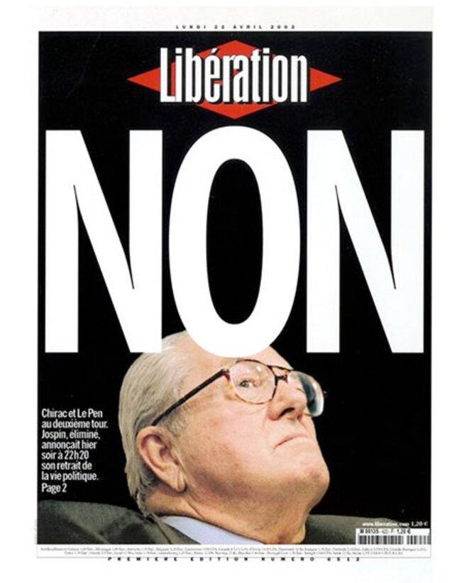 La Une de Libé le 22 avril 2002.