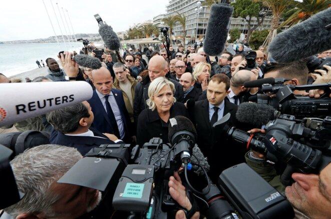 Marine Le Pen en déplacement à Nice, le 13 février 2017. © Reuters