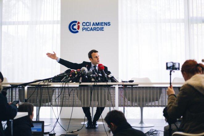 Emmanuel Macron à la CCI d'Amiens, le 26 avril 2017. © Nicolas Serve / Hans Lucas