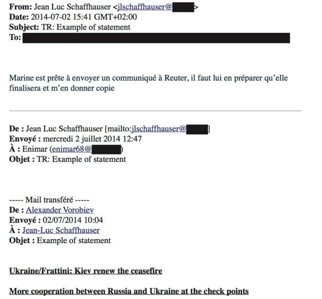 Extrait de l'email de Jean-Luc Schaffhauser à Marine Le Pen. © Document Mediapart
