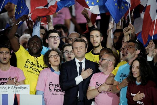 """""""Marseillaise"""" à la fin du meeting de la Villette, lundi 1er mai © Reuters"""