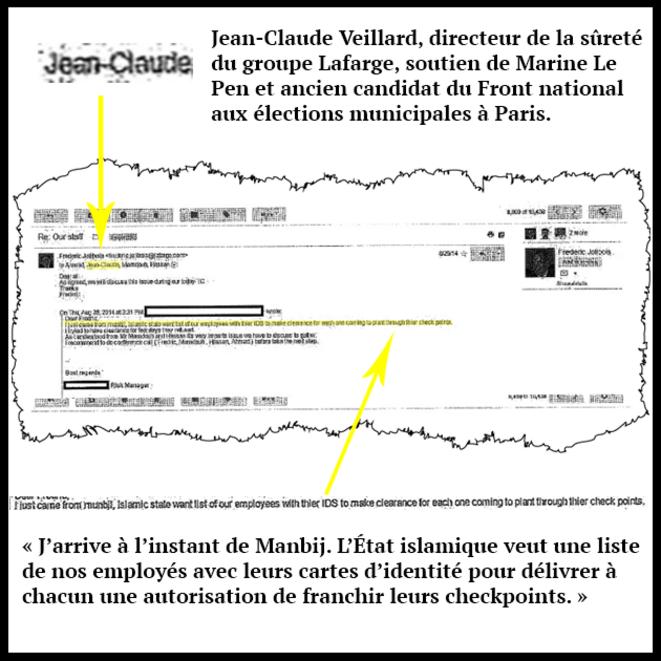 Extrait d'un mail prouvant l'implication de Jean-Claude Veillard dans les tractations avec l'État islamique © DR