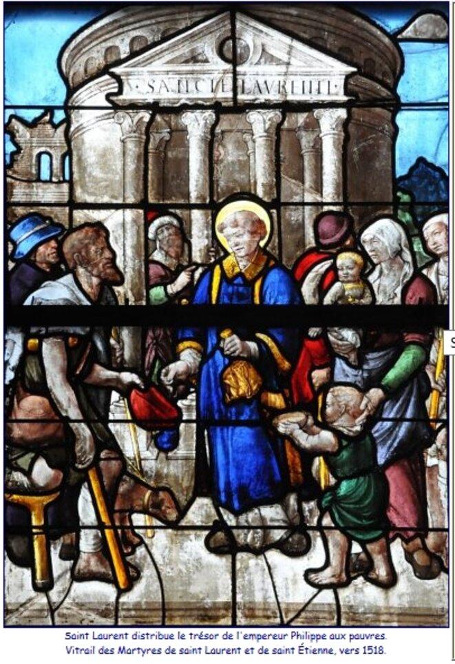 Saint-Laurent distribue le trésor de l'empereur Philippe aux pauvres, vitrail des Martyrs de saint Laurent et de saint Etienne vers 1518 (cathédrale de Bourges)