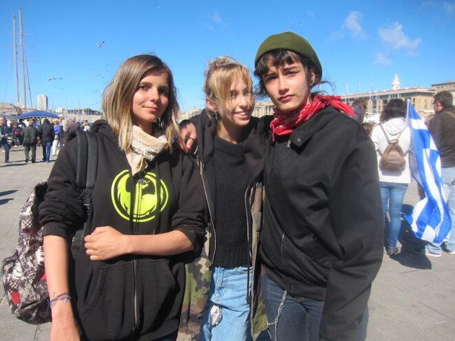 Margot, Jade et  Maïa, lycéennes à Saint-Charles. © LF