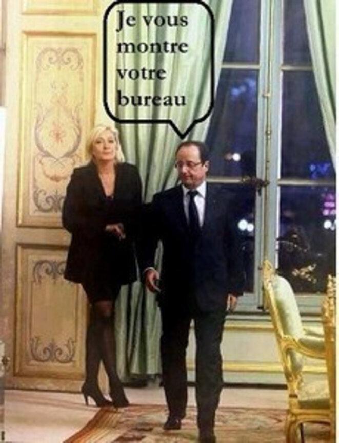 Marine Le Pen présidente © Montage illustrant un texte de Maxime Vivas, trouvé sur le site legrandsoir.info