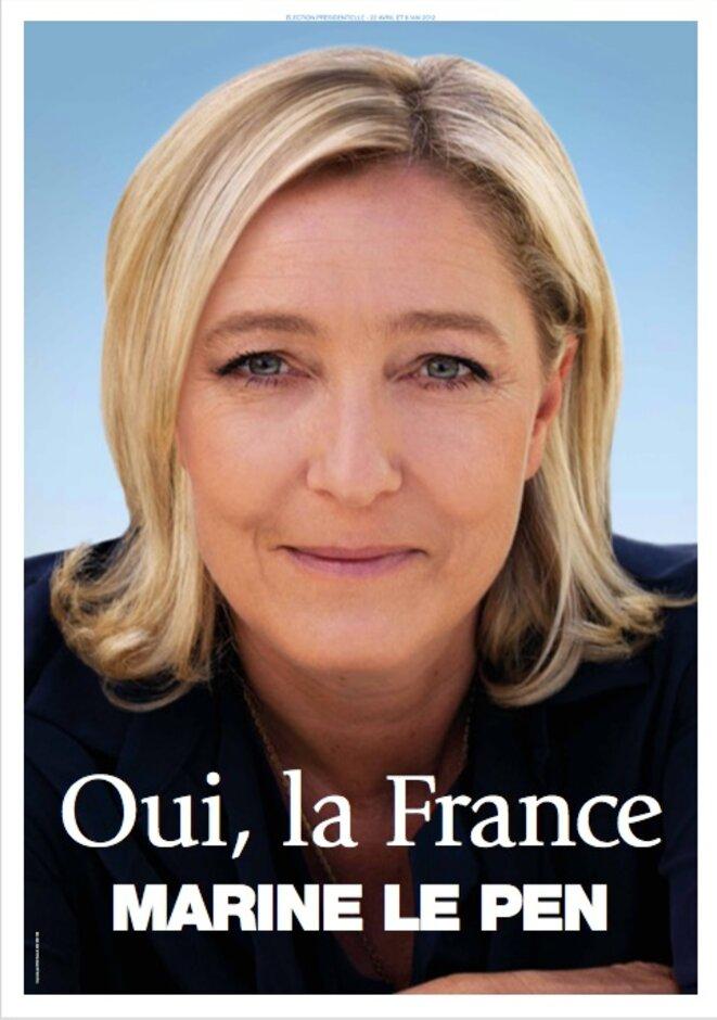 L'affiche de Marine Le Pen lors de l'élection présidentielle de 2012.