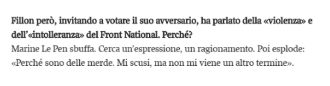 Extrait de l'interview en italien