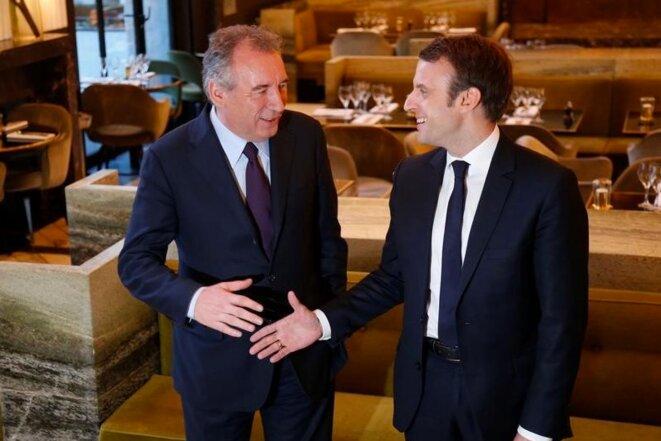 François Bayrou et Emmanuel Macron, le 23 février. © Reuters