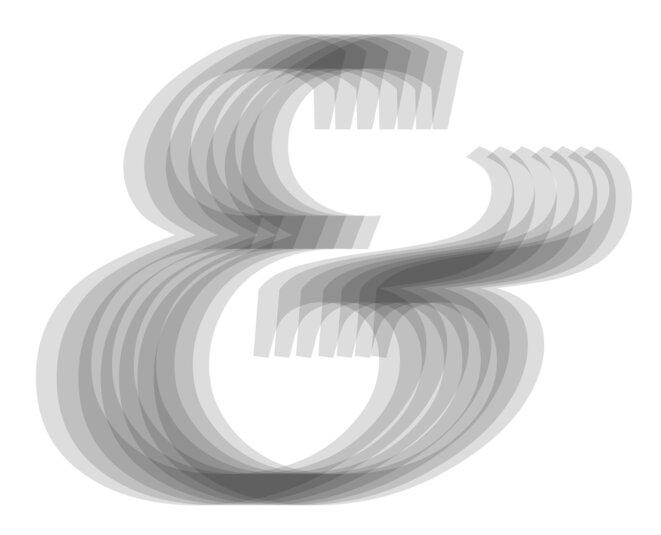 THÉÂTRE D'OMBRES généré à partir de l'esperluette du Palatino Italique dessiné par Hermann Zapf