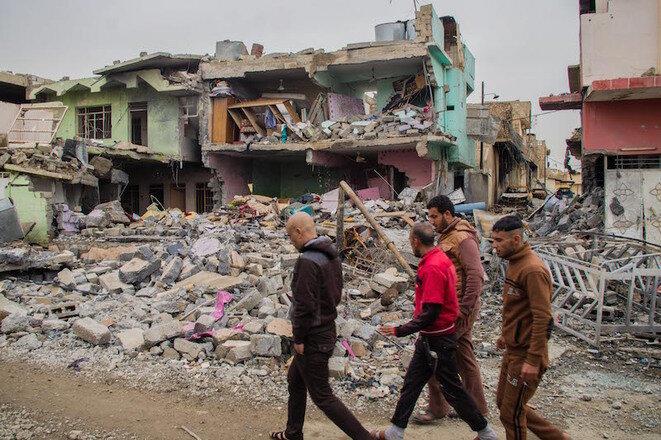 Un quartier de Mossoul (Irak) détruit par les bombardements de la coalition, en février. © (JA)