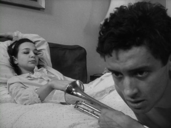 """Photogramme de """"Shadows"""", film de John Cassavetes, 1959, avec Lelia Goldoni et Ben Carruthers."""